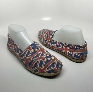 TOMS Union Jack England British UK Flag Canvas Slip On Shoes Size Women's 10