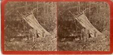 Antique Stereoview Camping out Temiscouata Lake Quebec Pre 1900 RARE