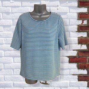 NEXT - Womens UK 12 Blue & White Striped Short Sleeve Round Neck T-Shirt Top