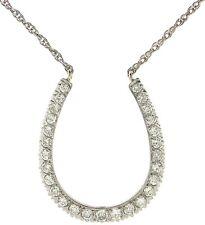 Lady's 14k White Gold  2 C.T.W Diamond Horse Shoe Pendant -Free Shipping !