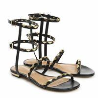 Schutz Women's Lobelia Black Leather Gold Studded Flat ankle Gladiator Sandal