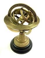 Antike Messing gravierte Armillarsphäre Globe Nautisch Astrolabium Dekor