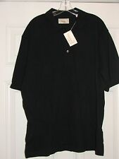 NWT Mens Vardon & Ray Solid Black Short Sleeve Golf Shirt Large L