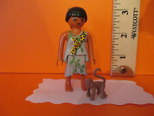 Playmobil SERIES 2 GIRL IN JUNGLE DRESS W/ MONKEY new figure + orig pkg PM #5158