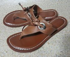 dc5a8f393f1 BERNARDO ICONS THONG SLIP ON SANDALS BROWN LEATHER WOMENS SHOES 6.5 M