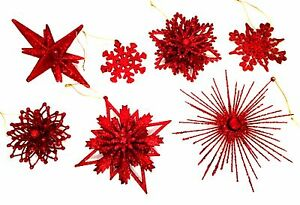 Red Snowflake Christmas Ornaments 25 Pieces 7 Different Styles Holiday Decor