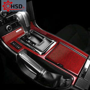 Carbon Fiber Car Stickers Gear Shift Panel Trim Cover For Ford Mustang 2009-2013
