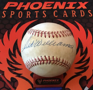 Ted Williams Signed Auto Official National League Baseball PSA RedSox Stained