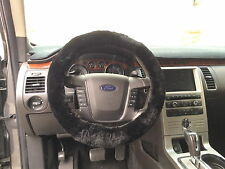 New Genuine Sheepskin Automotive Steering Wheel Cover in Black with Elastic Fit