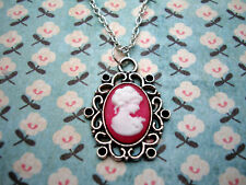 FUNKY HOT PINK CAMEO NECKLACE VICTORIAN LADY CUTE KITSCH VINTAGE SWEET XMAS GIFT
