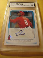 CHEVEZ CLARKE ANGELS 2010 BOWMAN  AUTO AUTOGRAPH ROOKIE RC BPA-CC GRADED 10