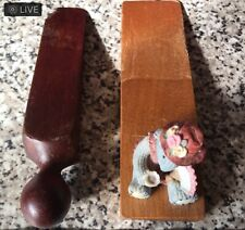 2x old vintage solid wooden door Wedges / door stops