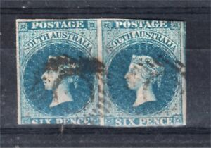 SOUTH AUSTRALIA 6D BLUE QV SIDEFACE IMPERFORATE PAIR FINE USED (M84)