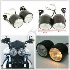 Double Dual Lamp Twin Headlight W/ Bracket For Street Fighter Naked Motorcycle