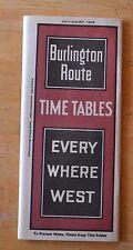Vtg Train Times Table Burlington Route July 1928 Reprinted 1982 National Railway