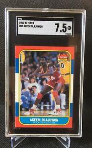1986 FLEER #82 Akeem Olajuwon SGC 7.5 ROOKIE RC Just graded! NM+ Houston Rockets