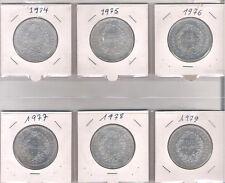 Lot de 6 X 50 frs Hercule 1974 à 1979