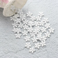 50Pcs 2-Hole Flat Wooden Snowflake Buttons Handmade Sewing Clothing Decoration