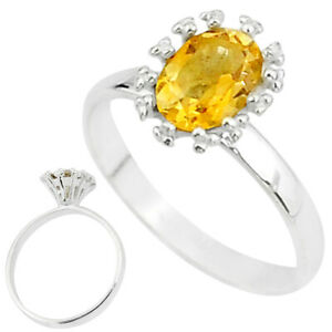 FACTORY DIRECT 1.82cts Solitaire Natural Yellow Citrine Silver Ring Size 7 T7218