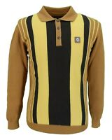 Trojan Records Golden Tan Long Sleeved Fine Gauge Knitted Polo Shirt