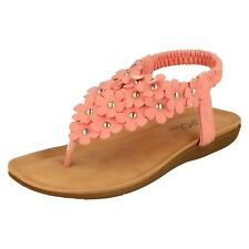 Spot On Girls Pink Slingback Foral Toe Post Sandals - H0R248