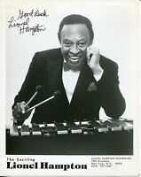 Lionel Hampton Jazz Legend Big Band Leader Rare Signed Autograph Photo