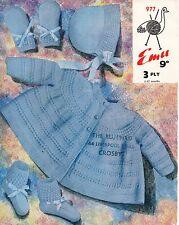 Emu 977 Vintage Baby Knitting Pattern 3 ply, Pram Set 1/6 and 6/12 months Repro