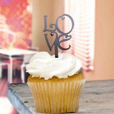 Black Love Cupcake Toppers x8 Baking Cake Pick Decoration
