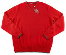 Men's RAFFI Solid Red 100% Cashmere V-Neck Sweater Shirt 50 M / L NWT $595!