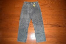 AKADEMIKS - Baggy Loose Fit Gray Leather Suede Jeans - Men Size 35 x 33 - NWT