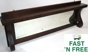 """🔥 Antique 43"""" Mirrored Wood Mantle Shelf ~1910 Vintage~  Free Fast Shipping"""