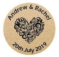 Personalised Wedding Shabby Brown Kraft Effect Favour Stickers Hearts x 105