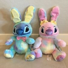 Disney Store Lilo Stitch & Angel lot of 2 Easter Bunny Plush Set 10'' Authentic!
