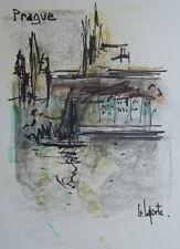 Georges LAPORTE (1926-2000) Technique mixte/papier Prague P1813