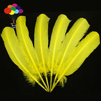 10-100pcs Pure Yellow 10-12inch Turkey Quill Feathers for Fashion Decorations