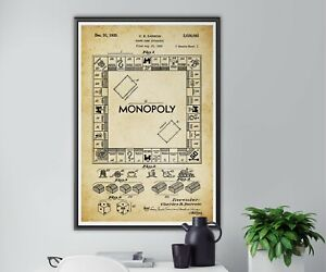 """1936 MONOPOLY Board Patent POSTER! (up to 24"""" x 36"""") - Made in USA - Vintage"""