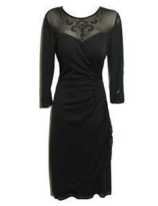 ALEX EVENINGS Women UK 12 FORMAL SHIFT DRESS BLACK MESH BEADED PARTY COCKTAIL
