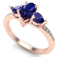 Anello oro 18Kt Gr 3,20 con Zaffiri Goccia e Diamanti Brillante F/VS1 ct. 0,98!