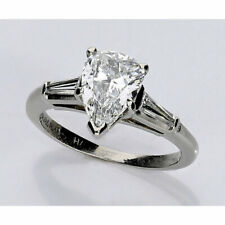 D pear brilliant E baguettes 1.46Ctw Gia platinum diamond engagement ring 1.16Ct
