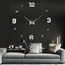 Wanduhr XL Deko Spiegel Edelstahl Uhr Wandtattoo Wand Uhr Groß XXL Clock silber