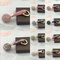 Women Crystal Rhinestone Ball Leather Strap Key Ring Keychain Charm Car Pendant