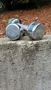Two Rare MARCY 5 lb Chrome Vintage Barbells Dumbbells Weights executive