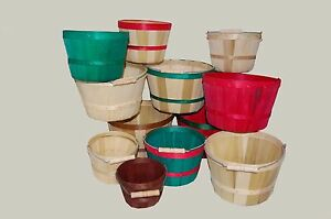 """Wooden Berry Baskets W/Handle Round 4 QT 8.25"""" x 6"""" - Hand Made in USA - Qty 50"""