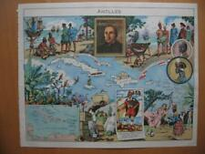 1948 - PINCHON - Illustrated historical map WEST INDIES Columbus Louverture
