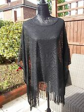 M&S... LOVELY BLACK PONCHO / COVER UP STYLE TOP... ONE SIZE EX CON