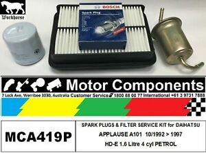 SPARK PLUG & FILTER SERVICE KIT for DAIHATSU APPLAUSE A101 HD-E 1.6L 10/92 > 97