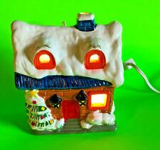 Vintage Ceramic Lighted House Snow Christmas Tree Santa's Chimney Working Cond.!