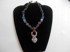 "Otazu RARE SIGNED Iconic ""OTAZU"" Clear Red Amethyst Blue Black Crystal Necklace"