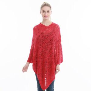 Women Poncho Stole Cape Shrug Wrap Shawl Jacket Jumper Crochet Cardigan Top Coat