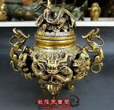 Antique Chinese Fengshui Brass Nine Dragons Incense Burner Statue Qianlong Mark